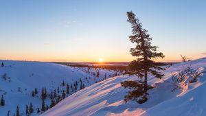 Auringonlasku Sodankylän Pomokairan Paistipuolilla