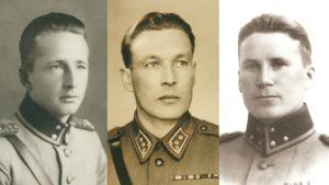 Kuvakollaasissa luutnantti Into Kuismanen (vas.), osasto Kuismasen partionjohtaja, luutnantti Pentti Juppala ja 1930-luvulla Yleisesikunnan tilastotoimiston johtajana toiminut kapteeni Yrjö Pöyhönen.