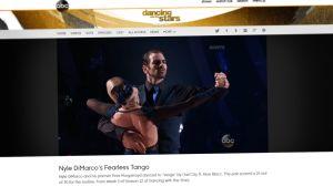 Kuvakaappaus ABC-televisiokanavan verkkosivulta. Kuvassa Nyle DiMarco tanssii parinsa kanssa tangoa.