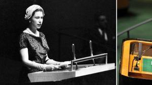 Kahden kuvan yhdistelmä 31-vuotiaasta ja värikuva 84-vuotiaasta Elisabetista.