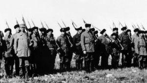 Kajaanin suojeluskuntalaisten sissipataljoona huhtikuussa 1918.