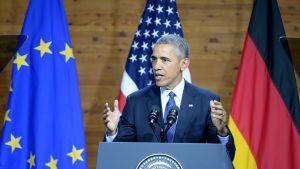 Yhdysvaltain presidentti Barack Obama puhumassa Hannoverissa