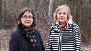 Säteilyturvakeskuksen johtaja Tarja K. Ikäheimonen (oik.) ja Ylen toimittaja Liisa Lehmus.