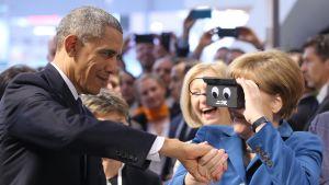Liittokansleri Merkel ja presidentti Obama Hannoverin messuilla.
