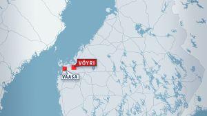 Suomen kartta jossa Vaasa ja Vöyri