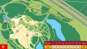 Frisbeegolf-kentän kartta