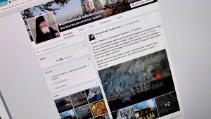 Kuva Valamon palosta Facebook-sivulla.