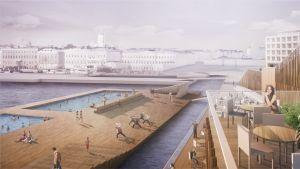 Tällaiset näkymät avautuvat Helsingin uuden merikylpylän paviljonkirakennuksen katolta kesällä 2017.