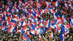 Ranskan liput liehuvat Stade de Francen katsomossa.
