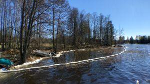 Kemiralta Saimaaseen vuotaneen öljyn torjuntaa Karstunrannassa