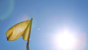 Lippu, jossa Turun vaakuna.