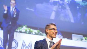 Alexander Stubbin valinta Kokoomuksen puheenjohtajaksi 14. kesäkuuta 2014.
