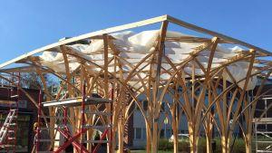 Tuusulan torille kohoava puinen paviljonki oli viime kesänä Helsingissä Desing-museon ja Arkkitehtuurimuseon välissä. Tuusulassa paviljongin on määrä olla pystyssä viisi vuotta, talvisinkin.