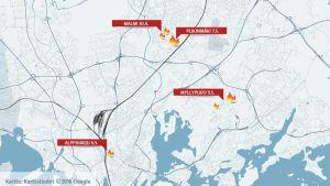 Kartta epäillyistä tuhopolttotapauksista Helsingissä