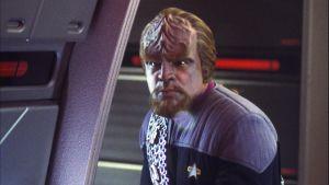 Elokuvasta Star Trek, näyttelijä Michael Dorn Worfin roolissa.