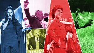 Jamala, Nelson Mandela, Donald Trump. pohjois-korealainen naissotilas ja sarvikuono.
