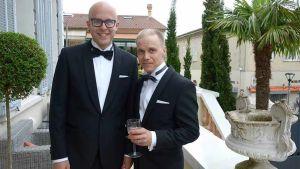 Elokuvan tuottaja Jussi Rantamäki ja miespääosan esittäjä Jarkko Lahti Cannesin tunnelmissa.