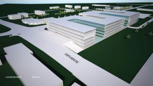Kanta-Hämeen sairaanhoitopiirin suunnitellun uuden keskussairaalan havainnekuva