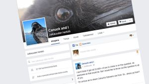 Kanadalaisen variksen fanisivu Facebookissa.