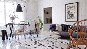 Olohuone on valkea ja musta ja siellä on paljon graafisia elementtejä