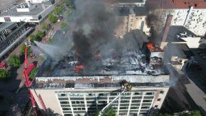 Palo Porin Omenahotellin rakennus 28.5.2016 tulipalo nosturi poliisin kamerakopteri