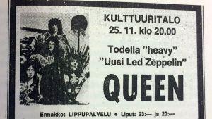Queenin mainos sanomalehdestä