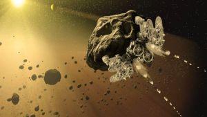 Taiteilijan näkemys asteroidialuksesta.