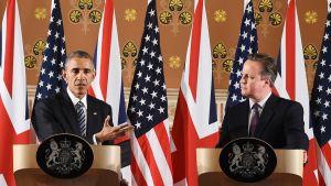 Obama ja Cameron rinta rinnan lehdistötilaisuudessa Lontoossa 22.4.2016.
