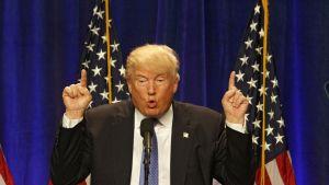 Donald Trump puhuu. Hänellä on yllään tumma puku, sininen kravatti, jossa on valkoisia pilkkuja ja takissaan pinssi, joka esittää Yhdysvaltain lippua. Trump osoittaa molempien käsiensä etusormilla ylös. Taustalla on tummansininen verho ja kaksi Yhdysvaltain lippua.