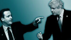 Grafiikka, kuvassa pääministeri David Cameron osoittaa etusormellaan Britannian eu-eroa ajavaa Boris Johnsonia.