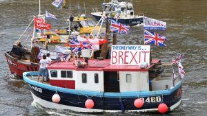 """Joukko kalastusaluksia rivissä Thamesjoeall. Lähimmässä veneessä on kyltti, jossa lukee """"The only way is BREXIT"""". Veneissä on Britannian lippuja ja plakaatteja, joissa kehotetaan äänestämään Britannian EU-eron puolesta. Vesi on viheriää."""