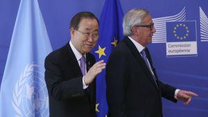 EU:n komission puheenjohtaja Juncker tapasi Pietarissa myös YK:n pääsihteeri Ban Ki-moonin.