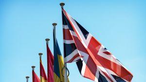 Ison-Britannian lippu liehuu muiden EU-maiden lippujen vieressä.