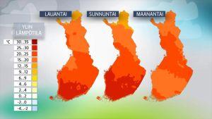 Juhannuksen lämpötilakartat.