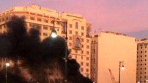 Räjähdyksen jälkeinen tulipalo Medinassa Saudi-Arabiassa 4. heinäkuuta 2016.