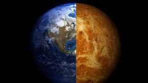Keskeltä kahta jaettu planeetta.