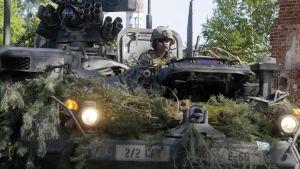 Spring Storm 2016 -harjoituksessa panssaroituja ajoneuvoja Viron Räpinassa.