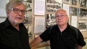 Jussi Paarvala ja Unto Rissanen ovat piirin lapsia. He ovat koonneet valokuvanäyttelyä piirimielisairaalan alueella vietetyn lapsuuden muistoista.