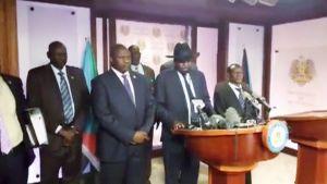 Etelä-Sudanin presidentti Salva Kiir puhui Jubassa, maan pääkaupungissa, 8. heinäkuuta.