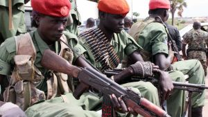 Etelä-Sudanin opposition joukot kuvattuna Jubassa.