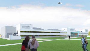 Havainnekuva Tampere-Pirkkala lentokentän viereen rakentuvasta Patria Pilot Trainingista
