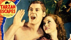 """Juliste, Maureen O'sullivan  Johnny Weissmüller, Elokuvasta """"Tarzan Escapes"""" v. 1936."""