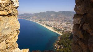 Näkymä alanyan Cleopatra-nimiselle rannalle Turkissa.