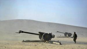 Afganistanin turvallisuusjoukkojen tykki Nangaharissa.