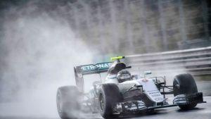 Nico Rosberg ajamassa vesisateessa Unkarissa.