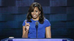 Michelle Obama puhui demokraattien puoluekokouksessa Philadelphiassa heinäkuussa 2016