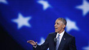 Barack Obama puhui demokraattien puoluekokouksessa Philadelphiassa.