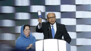 Khizr Khan (R), father of fallen soldier Human S. M. Khan, holds a copy of the United States Constitution on stage during final day of the Democratic National Convention at the Wells Fargo Center in Philadelphia, Pennsylvania, USA, 28 July 2016.