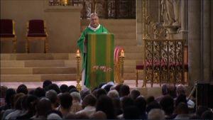 Pappi puhuu väkijoukolle.