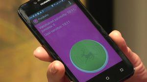 Porokello-varoitusjärjestelmä matkapuhelimessa.